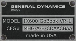 General Dynamics Itronix GoBook IX600 VR-1